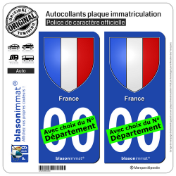 2 Autocollants plaque immatriculation Auto : France - Blason