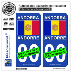 2 Autocollants plaque immatriculation Auto : Andorre - Drapeau