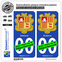 2 Autocollants plaque immatriculation Auto : Andorre - Armoiries