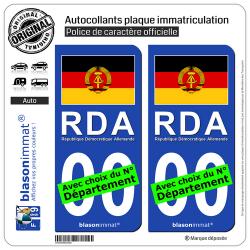 2 Autocollants plaque immatriculation Auto : Allemagne - Drapeau RDA