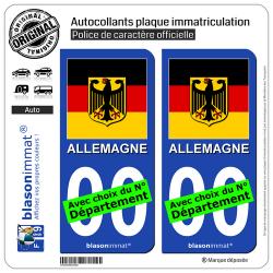2 Autocollants plaque immatriculation Auto : Allemagne - Armoiries Drapées