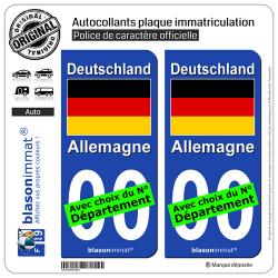 2 Autocollants plaque immatriculation Auto : Allemagne - Drapeau