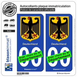 2 Autocollants plaque immatriculation Auto : Allemagne - Armoiries