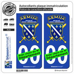 2 Autocollants plaque immatriculation Auto : Bosnie-Herzégovine - Armija
