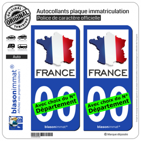 autocollant plaque immatriculation france carte. Black Bedroom Furniture Sets. Home Design Ideas