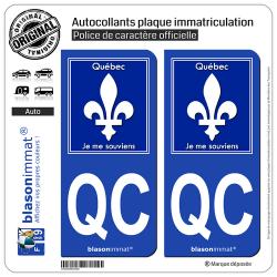 2 Autocollants plaque immatriculation Auto : QC Québec - Souvenir