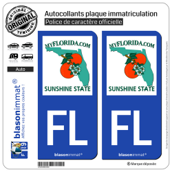 2 Autocollants plaque immatriculation Auto FL Floride - MyFlorida