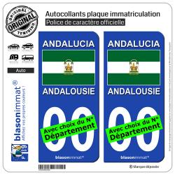 2 Autocollants plaque immatriculation Auto : Andalousie - Drapeau