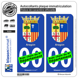 2 Autocollants plaque immatriculation Auto : Aragon - Armoiries
