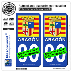2 Autocollants plaque immatriculation Auto : Aragon - Armoiries Drapées
