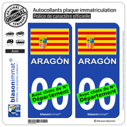 2 Autocollants plaque immatriculation Auto : Aragon - Drapeau