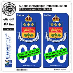 2 Autocollants plaque immatriculation Auto : Québec - Armoiries