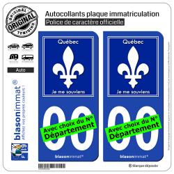 2 Autocollants plaque immatriculation Auto : Québec - Souvenir