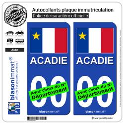 2 Autocollants plaque immatriculation Auto : Acadie - Drapeau