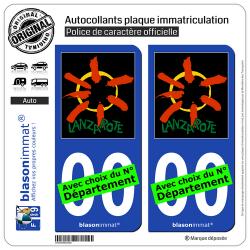 2 Autocollants plaque immatriculation Auto : Îles Canaries - Lanzarote