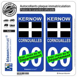 2 Autocollants plaque immatriculation Auto : Cornouailles - Drapeau Saint Piran