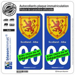 2 Autocollants plaque immatriculation Auto : Ecosse - Armoiries