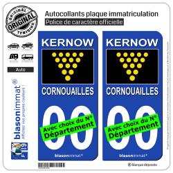 2 Autocollants plaque immatriculation Auto : Cornouailles - Drapeau du Duc