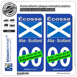 2 Autocollants plaque immatriculation Auto : Ecosse - Drapeau