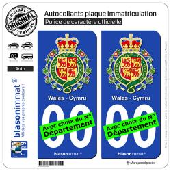 2 Autocollants plaque immatriculation Auto : Pays de Galles - Armoiries