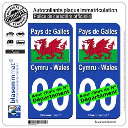 2 Autocollants plaque immatriculation Auto : Pays de Galles - Drapeau