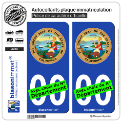 2 Autocollants plaque immatriculation Auto : Californie - Armoiries