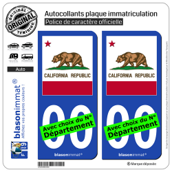 2 Autocollants plaque immatriculation Auto : Californie - Drapeau Ajusté