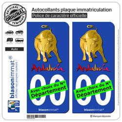 2 Autocollants plaque immatriculation Auto : Andalucia - Toro