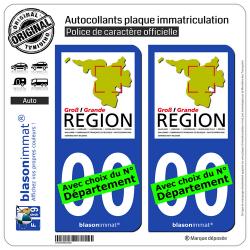 2 Autocollants plaque immatriculation Auto : Grande Région - GECT