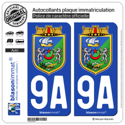 2 Autocollants plaque immatriculation Auto 9A Alger - Armoiries