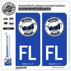 2 Autocollants plaque immatriculation Auto FL Miami Floride - Timbre