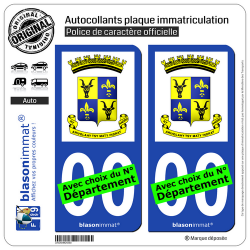 2 Autocollants plaque immatriculation Auto : Antananarivo - Armoiries