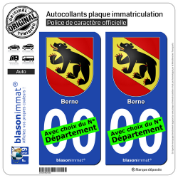2 Autocollants plaque immatriculation Auto : Berne - Armoiries