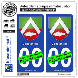 2 Autocollants plaque immatriculation Auto : Constantine - Armoiries