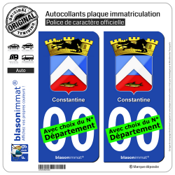 2 Autocollants plaque immatriculation Auto : Constantine - Armoiries Coloniales