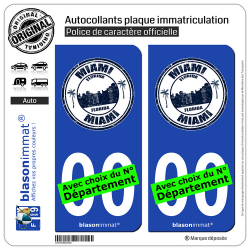 2 Autocollants plaque immatriculation Auto : Miami Floride - Timbre