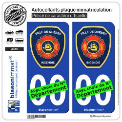 2 Autocollants plaque immatriculation Auto : Québec - SPCI