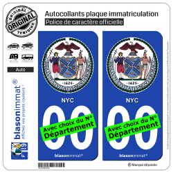 2 Autocollants plaque immatriculation Auto : New York - Armoiries