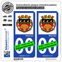 2 Autocollants plaque immatriculation Auto : Majunga - Armoiries