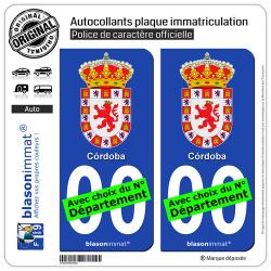 2 Autocollants plaque immatriculation Auto : Cordoue Ville - Armoiries