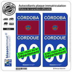 2 Autocollants plaque immatriculation Auto : Cordoue Ville - Drapeau