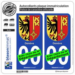 2 Autocollants plaque immatriculation Auto : Genève - Armoiries