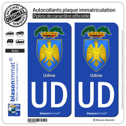 2 Autocollants plaque immatriculation Auto UD Udine Province - Armoiries