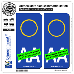 2 Autocollants plaque immatriculation Auto : Italie - LogoType