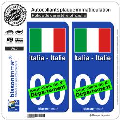 2 Autocollants plaque immatriculation Auto : Italie - Drapeau