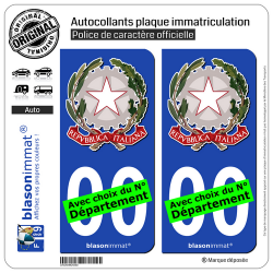 2 Autocollants plaque immatriculation Auto : Italie - Armoiries