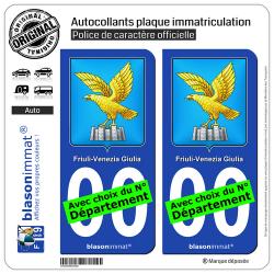 2 Autocollants plaque immatriculation Auto : Frioul-Vénétie Julienne - Armoiries