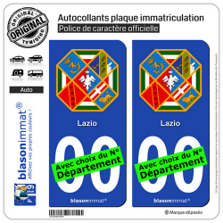 2 Autocollants plaque immatriculation Auto : Latium Région - Armoiries
