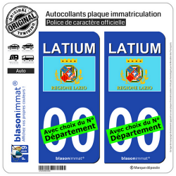 2 Autocollants plaque immatriculation Auto : Latium Région - Drapeau