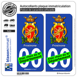 2 Autocollants plaque immatriculation Auto : Frosinone Ville - Armoiries